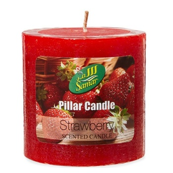 Samar Pillar Candle 7.5X7.5Cm Strawberry