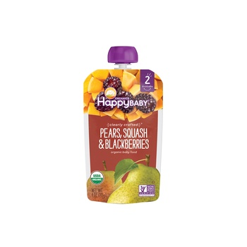 Happy Baby Organics Clearly Crafted Stage 2 Pears, Squash & Blackberries 113g Pouch