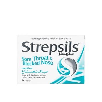 Strepsils Lozenges Sore Throat & Blocked Nose Menthol 24pcs