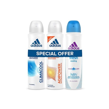 Adidas climacool + adipower + fresh deodorant body spray for women 3 x 150 ml