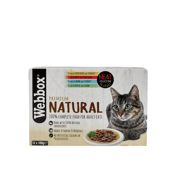 Webbox Natural Cat Food Meat In Gravy Selection 12X100g