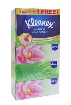 Kleenex Natural Collection 5 x 170 Sheet x 2 Ply White Facial Tissue (4 + 1 Free)