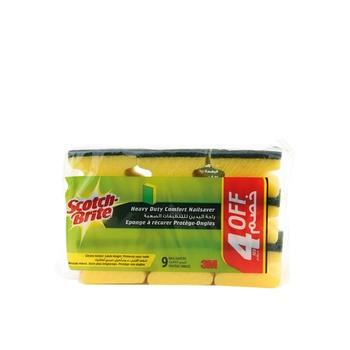 Scotch Brite Heavy Duty Nailsaver Scrub Sponge (Pack of 9)