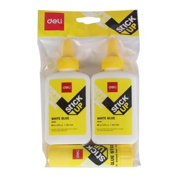 Deli White Glue 2 X 80ml + Glue Stick 20g