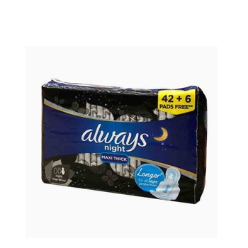 Always Clean & Dry Maxi Thick Night Sanitary Pads 48 Pads