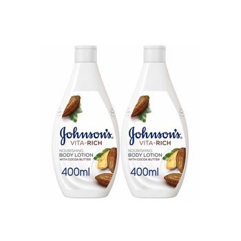 Johnsons Body Lotion - Vita-Rich Nourishing Cocoa Butter 400ml Pack Of 2