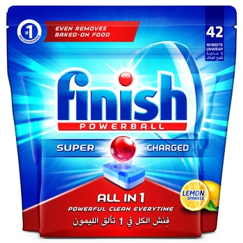 Finish Dishwasher Detergent Powerball Tabs Lemon 42s