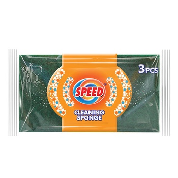 Speed Fiber Abrasive Cleaning Green Sponge 3pcs