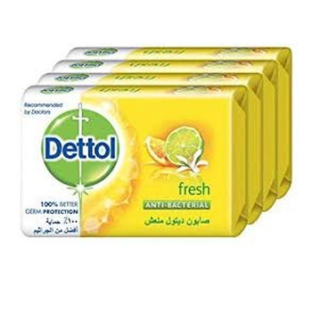 Dettol Fresh Anti bacterial Bar Soap 165g Pack of 4