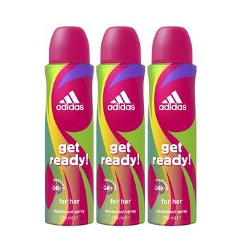 Adidas Get Ready! Deodorant Spray for Women 150 ml (2 + 1 Free)