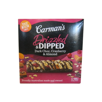 Carman'S Drizzled & Dipped Dark Choc, Cranberry & Almond Bars 210g