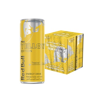 Red Bull Energy Drink, Tropical, 4 x 250 ml