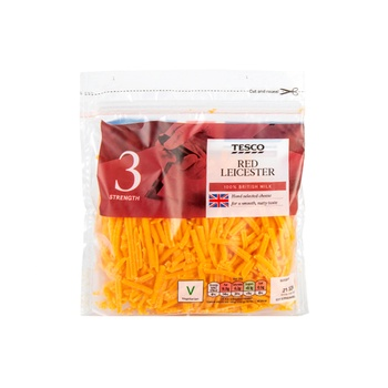 Tesco Grated Red Licester Cheese 250G