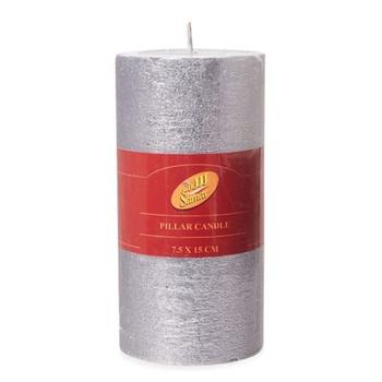 Samar Pillar Candle 7.5X15cm Silver