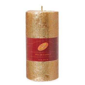 Samar Pillar Candle 7.5X15cm Gold