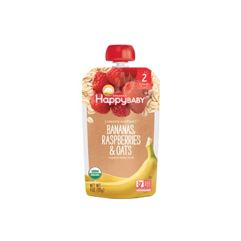 Happy Baby Organics Clearly Crafted Stage 2 Bananas, Raspberries & Oats 113g Pouch