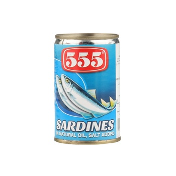 555 Sardines In Natural Oil Salt Added 155g
