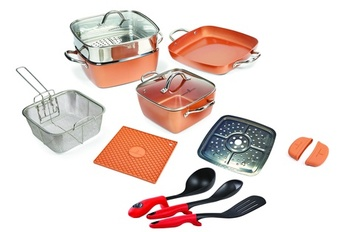 Copper Chef 15 pcs Cookware Set with Utensils