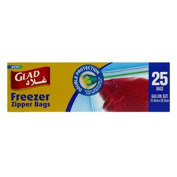 Glad Zipper Freezer Bag Gallon 25s + Strong Freezer 40 Bags 16.8cm X 18cm