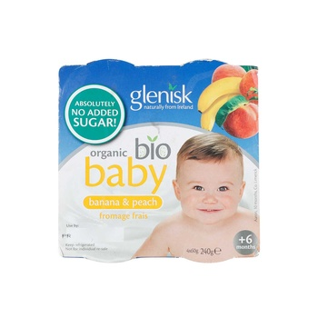 Glenisk Organic Baby Sugar Free Banana Peach 4X60g