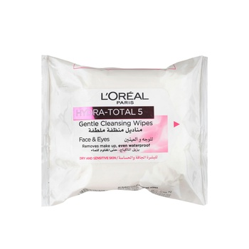 Loreal Dermo Expertise Hydra Total 5 Facial Cleansing 25 Wipes Pink