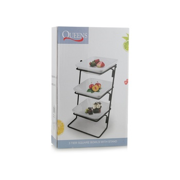 Porcelain 3 Tier Square Serving Set with Stand