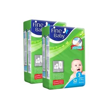 Fine Baby Diaper Fast Sorption Medium Jumbo Pack Twin Pack 104'S