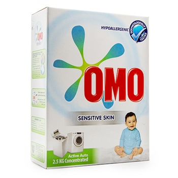 Omo Active Auto Laundry Detergent Powder Sensitive Skin 2.5kg