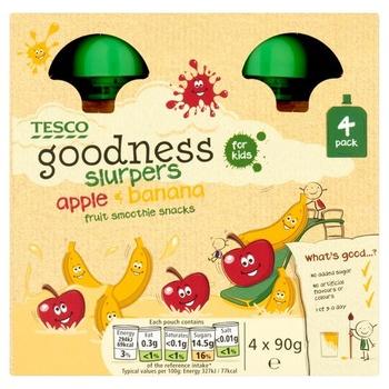 Tesco Goodness Apple & Banana Fruit Slurpers 4 X 90g