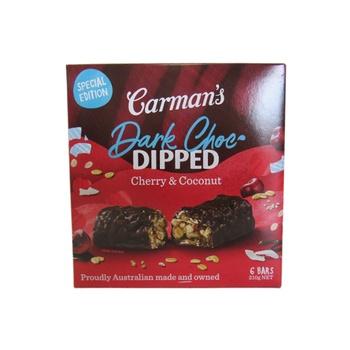 Carman'S Dipped Dark Choc, Cherry & Coconut Bars 210g