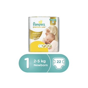 Pampers Premium Care Diapers  Size 1  Newborn  2-5 kg  Carry Pack  22 Count