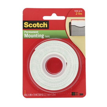 3M Scotch Permanent Mounting Tape - 0.5 X 75 inch