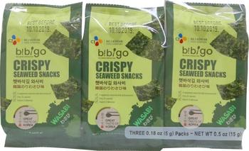 CJ Bibigo Crispy Seaweed Snacks Wasabi 3 X 5g