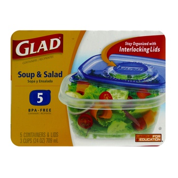 Gladware Soup & Salad Containers With Lids 5 pcs