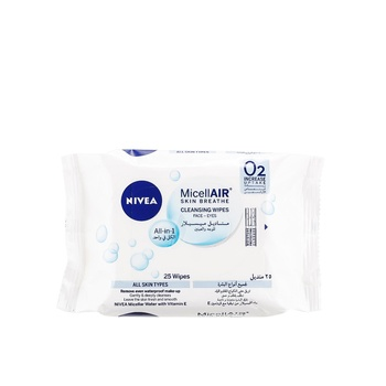 Nivea 3 in 1 Caring Micellar Cleansing Wipes 25 Pieces