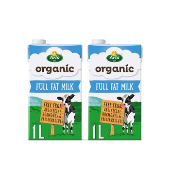 Arla Organic Milk Full Fat 1Ltr Pack of 2