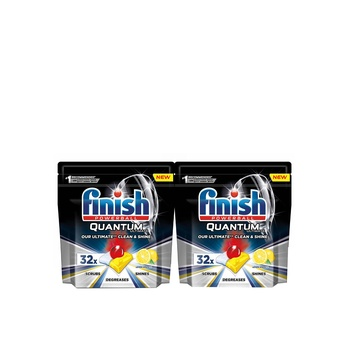 Finish Quantum Ultimate Dishwasher 32 Tablets Lemon Pack Of 2