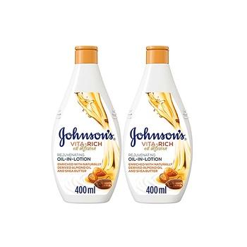 Johnsons Body Moisturizer Vita-Rich Oil-In-Lotion Rejuvenating 400ml Pack Of 2