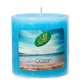 Samar Pillar Candle 7.5X7.5Cm Blue-Ocean