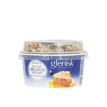 Glenisk  Organic Natural 0% Fat Yoghurt Honey with Granola 145g