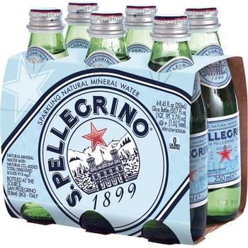 S.Pellegrino Sparkling Natural Mineral Water Glass Bottle 250ml 6-pack