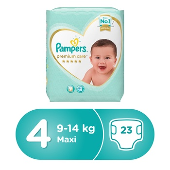 Pampers Premium Care Diapers  Size 4  Maxi  8-14 kg  Carry Pack  23 Count