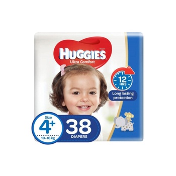 Huggies Ultra Comfort Diapers Size 4+ 10-16 Kg Value Pack 38 Diapers Pack Of 2