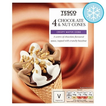Tesco Chocolate & Nut Cones 4X110Ml