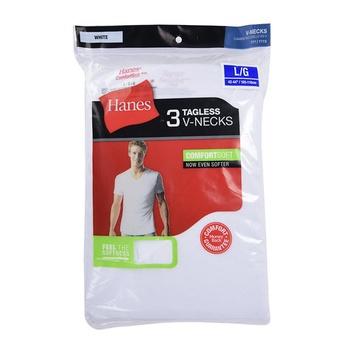 Hanes Mens V-Neck T Shirt 3pcs pack - L