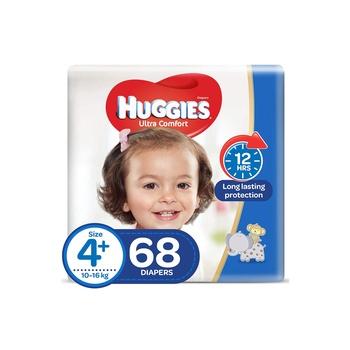 Huggies Ultra Comfort Diapers Size 4+ Jumbo Pack 10-16 Kg 68 Diapers Pack Of 2