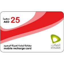 Etisalat Mobile Recharge Card 25 AED