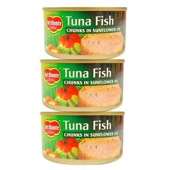 Del Monte Tuna Chunk In Sunflower Oil 185g Pack of 3