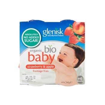 Glenisk Organic Baby Sugar Free Strawberry & Apple 4X60G