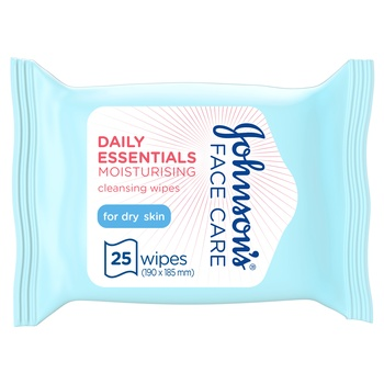 Johnson's Daily Essentials Facial Cleansing Wipes Dry Skin 25s